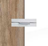 Rauch Quadra Sanremo Oak Light Carcase with High Polish White Front and Aluminium Color Handle No2 AA34L