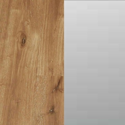 ZA685 : Atlantic Light Oak Carcase with Front Grey Mirror Top & Bottom Section and Glossy Glass Middle Section