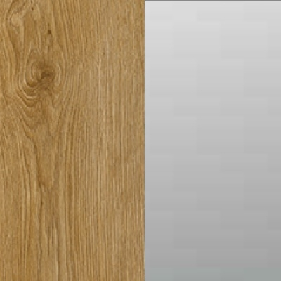ZA355 : Natural Royal Oak Carcase with Front Grey Mirror Top & Bottom Section and Glossy Glass Middle Section