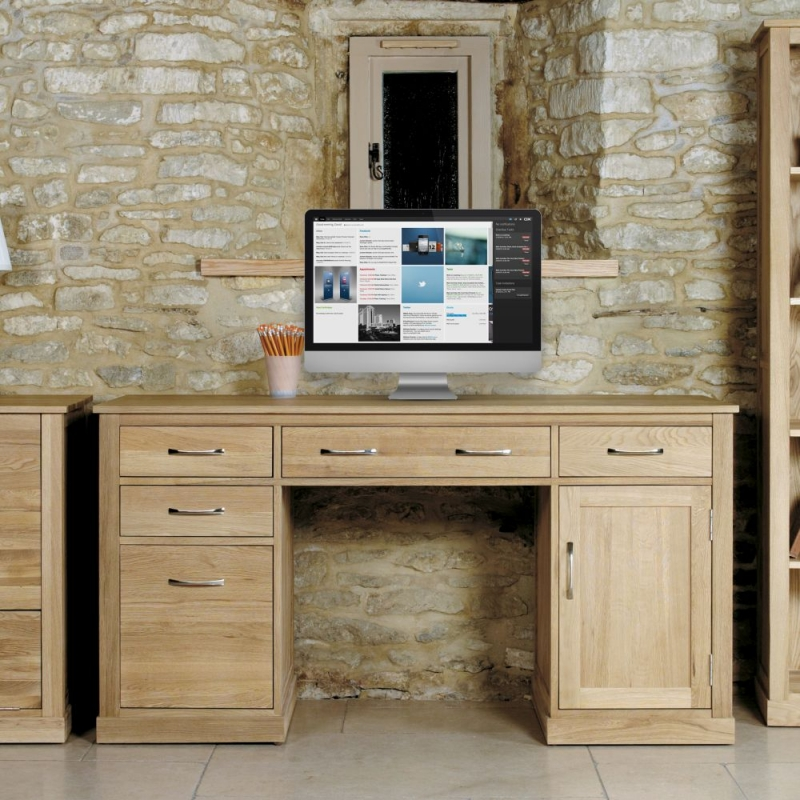 Baumhaus Mobel Oak 1 Door 5 Drawer Computer Desk