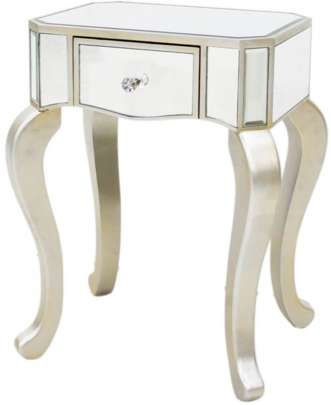 Ravena Mirrored Champagne Trim Lamp Table