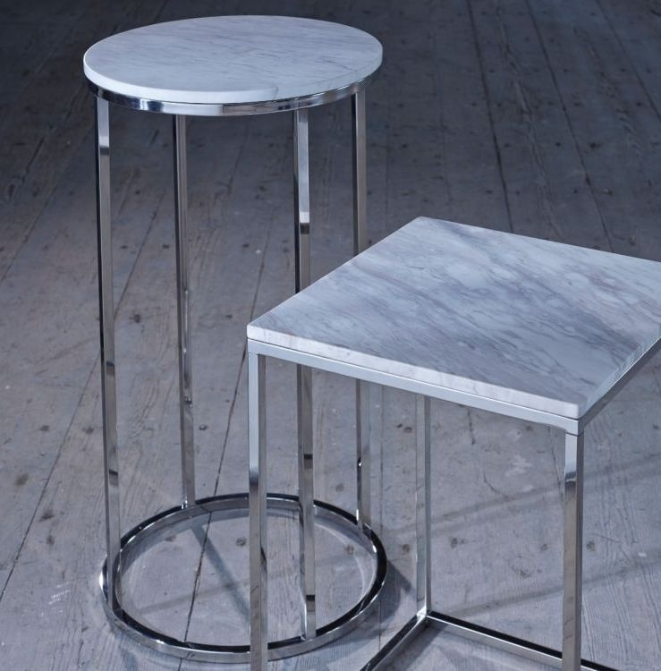 Westminster White Marble and Stainless Steel Round Coffee Table