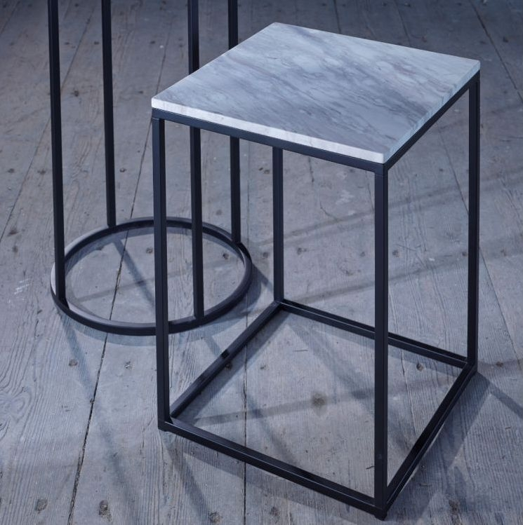 Westminster White Marble and Black Square Side Table