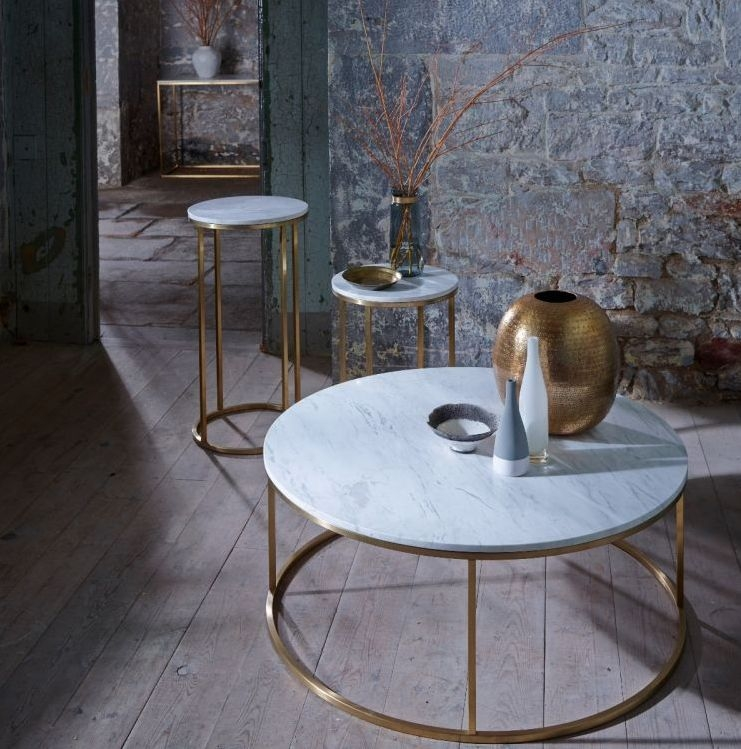 Westminster White Marble and Brass Round Lamp Stand