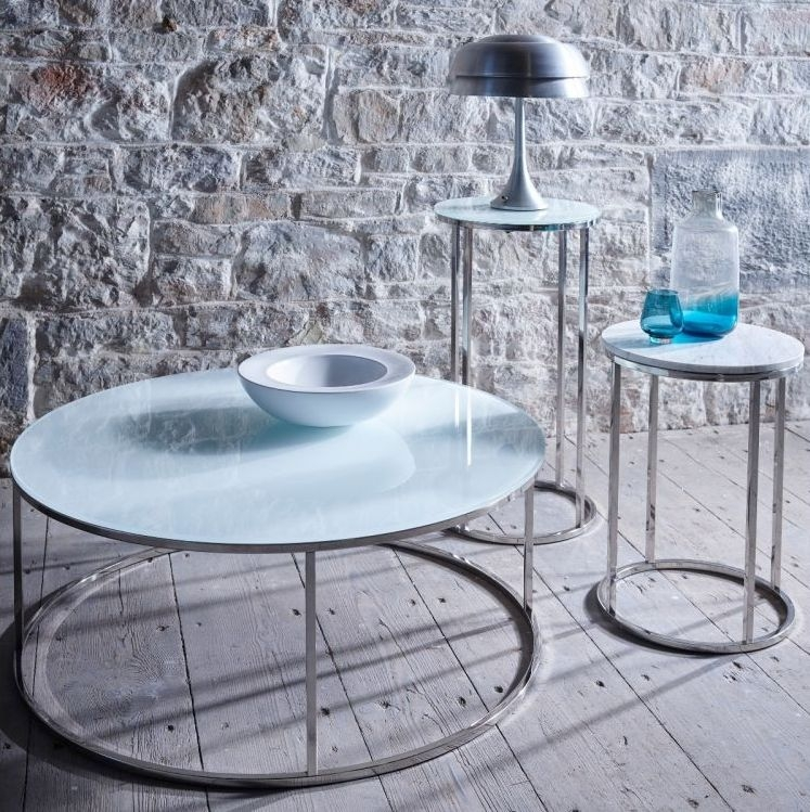 Westminster White Glass and Stainless Steel Round Lamp Stand