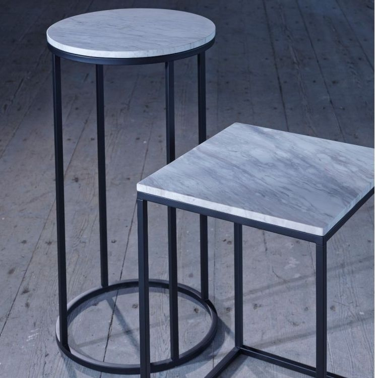 Westminster White Marble and Black Round Side Table