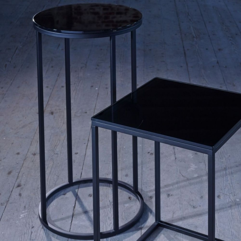 Westminster Black Glass and Black Round Side Table