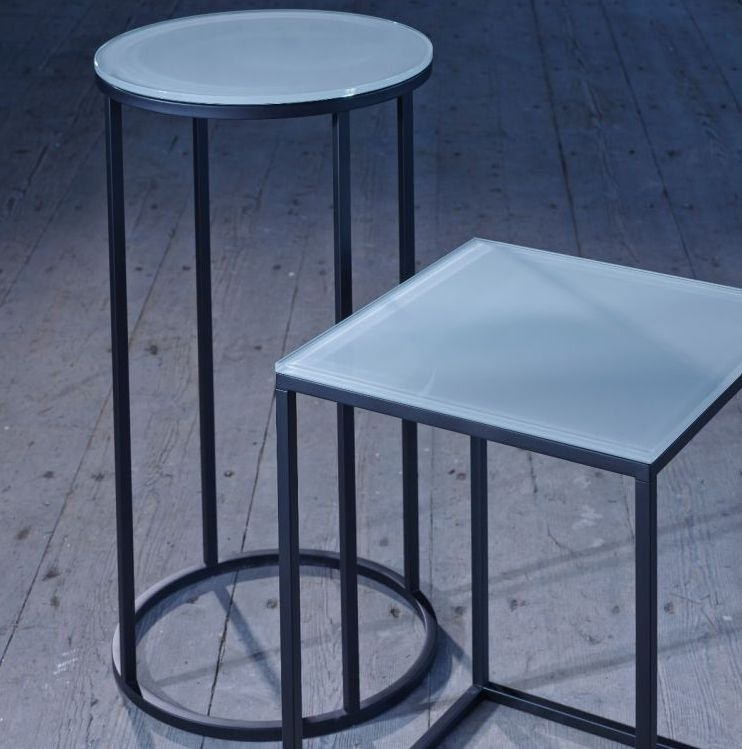 Westminster White Glass and Black Round Side Table