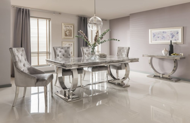 Vida Living Arianna Large Dining Table - Grey Marble and Chrome