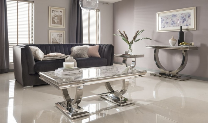 Vida Living Arianna Coffee Table - Grey Marble and Chrome