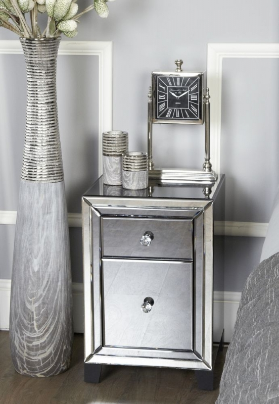 Salerno Smoked Mirrored Bedside Cabinet