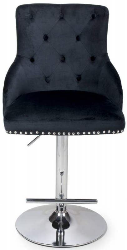 Shankar Rocco Black Brushed Velvet Tufted Studded Bar Stool