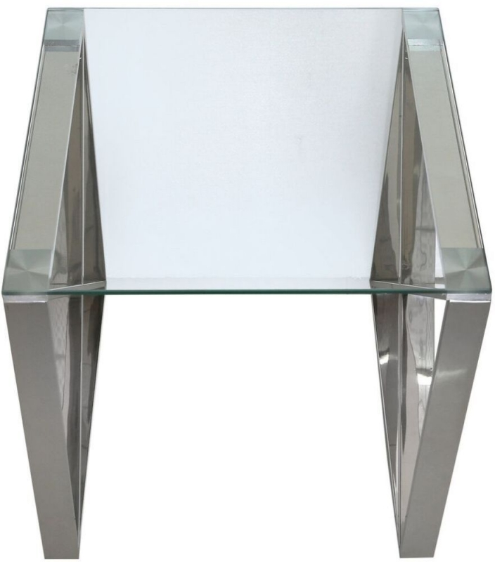 Linosa Glass and Chrome End Table
