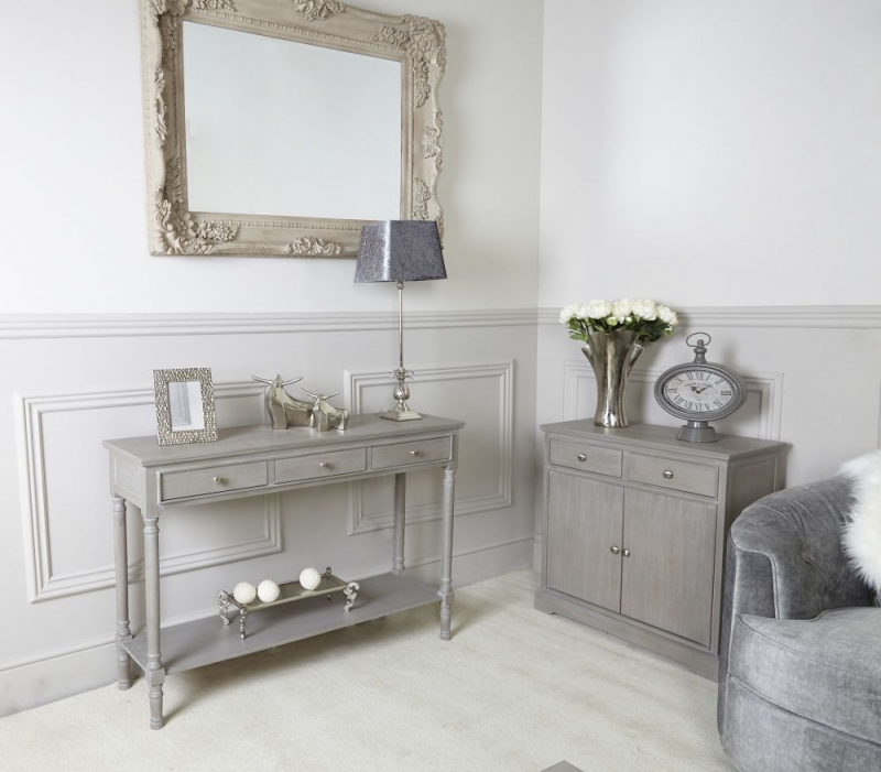 Serra Taupe 3 Drawer Large Console Table