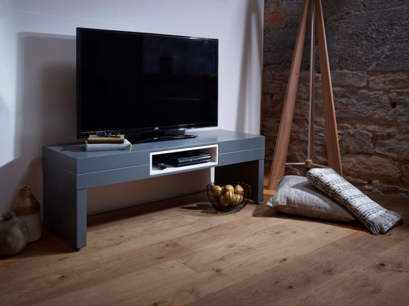 Victoria Graphite TV Unit with White Accent