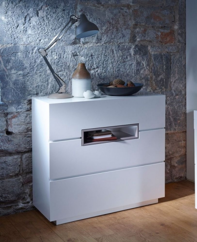 Victoria White Chest of Drawer with Stone Accent - 3 Drawer