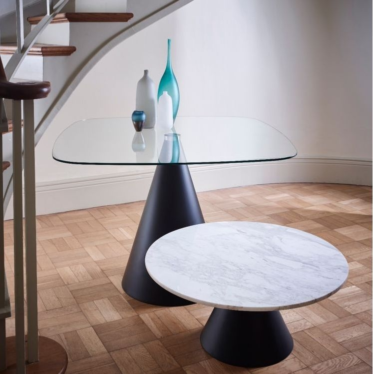 Maida White Marble Small Round Side Table with Black Conical Base