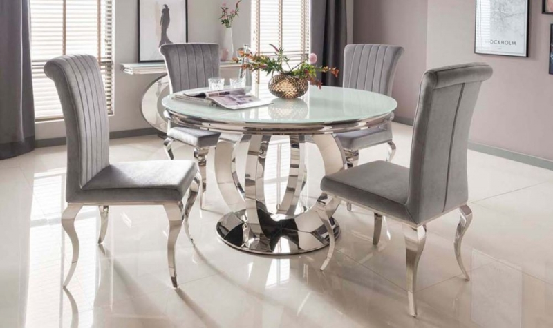 Vida Living Orion 130cm White Glass Round Dining Table