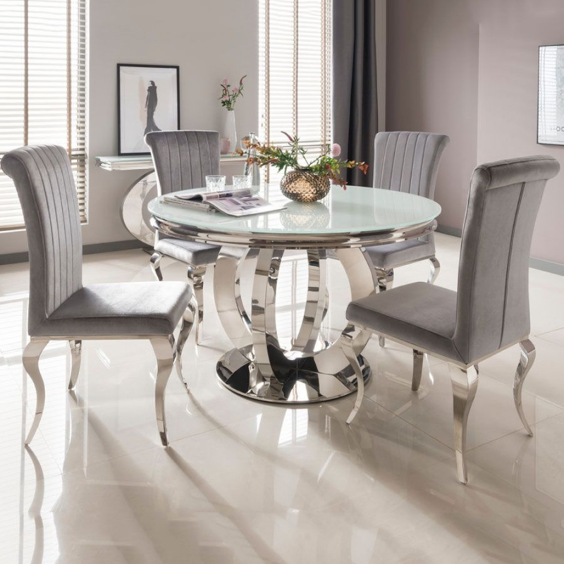 Buy Vida Living Orion White Glass Top Round Dining Table