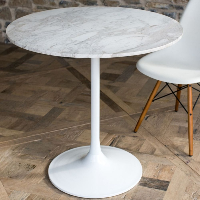 Notting White Marble Top 80cm Round Small Dining Table With White Gloss Base Cfs Furniture Uk