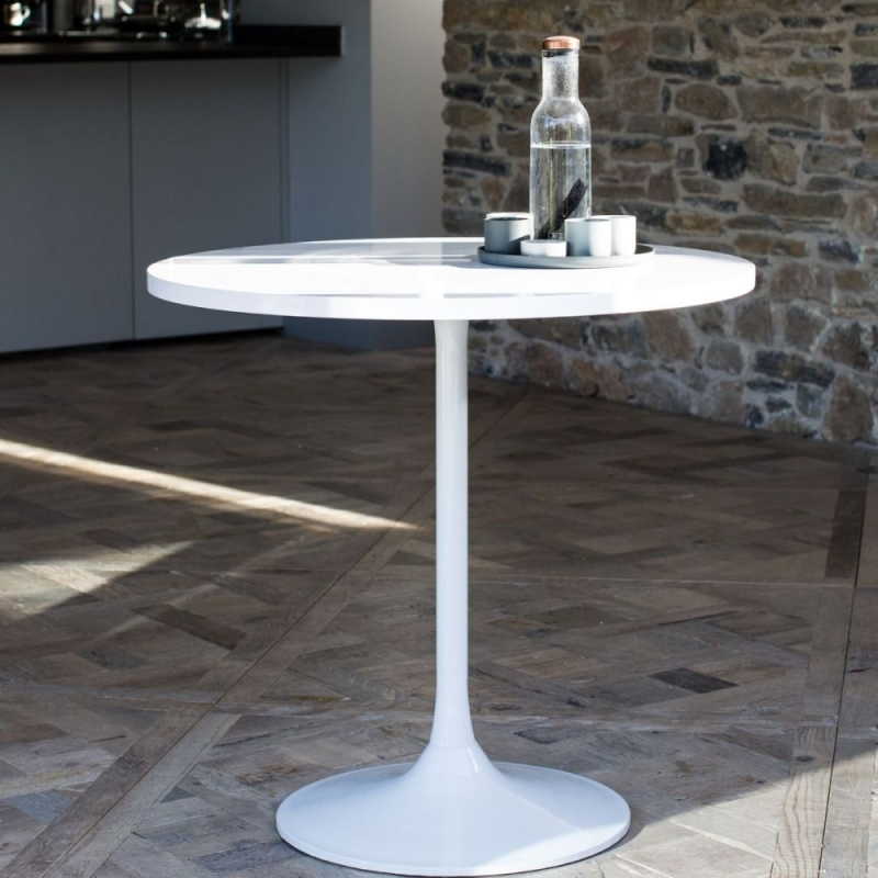 Notting White Gloss Top 80cm Round Small Dining Table White Gloss Base