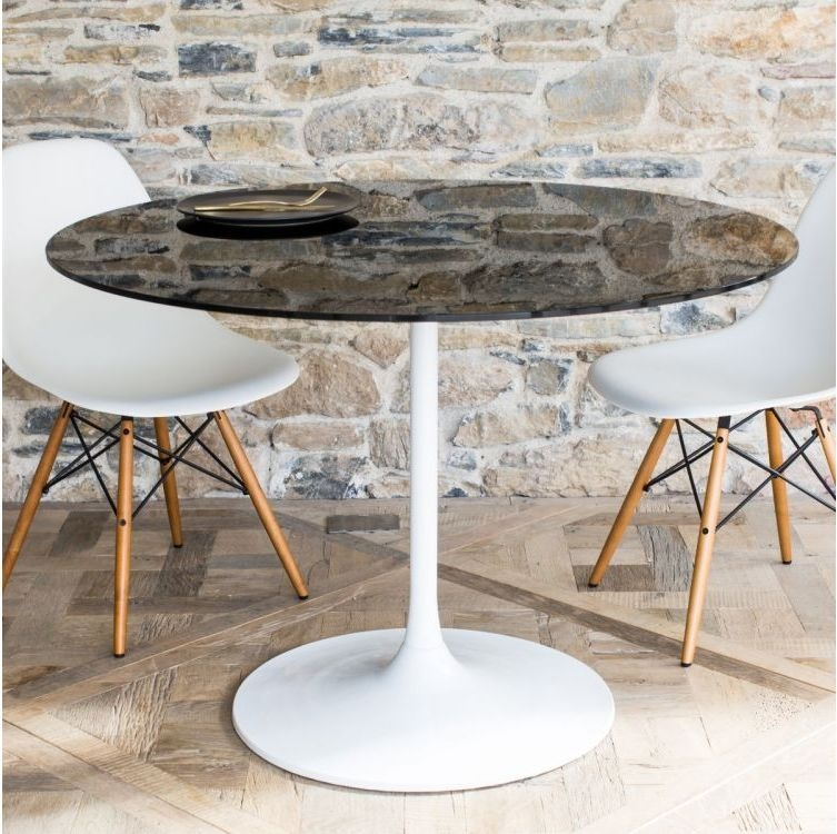 Notting White Gloss Top 110cm Round Large Dining Table White Gloss Base
