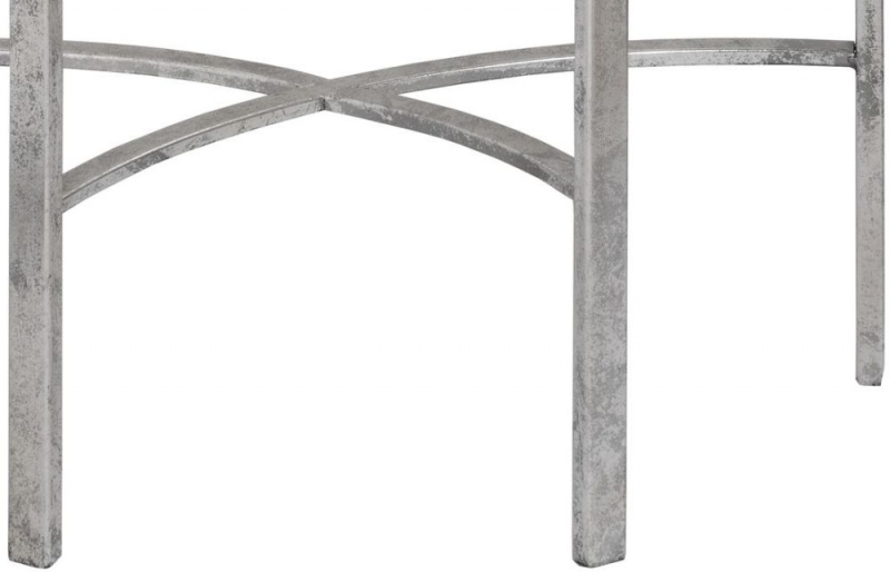 Hill Interiors Silver Mirrored Half Moon Table with Cross Detail