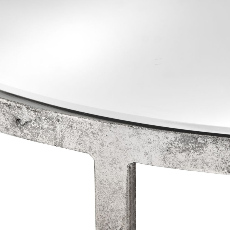 Hill Interiors Mirrored Silver Large Side Table with Cross Detail