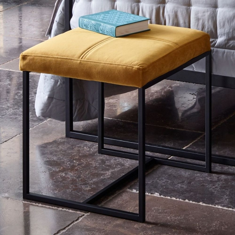 Federico Mustard Velvet Small Upholstered Stool with Black Metal Frame