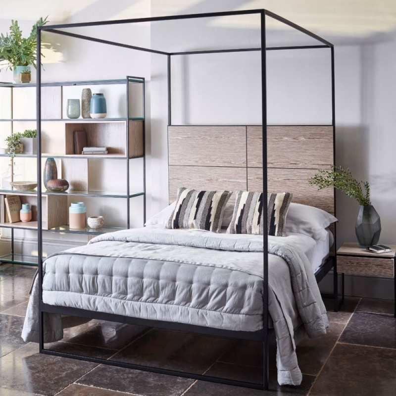 Buy Regents Black Metal Bed Frame with Weathered Oak Headboard and ...