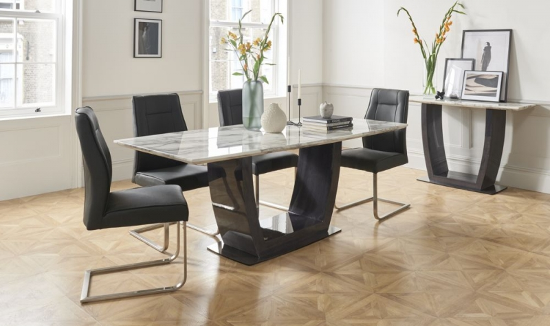 Vida Living Luciana 160cm Grey Marble Dining Table and 6 Charcoal Leather Chairs