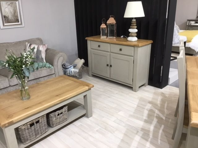 Vida Living Logan Coffee Table - Taupe and Oak Painted
