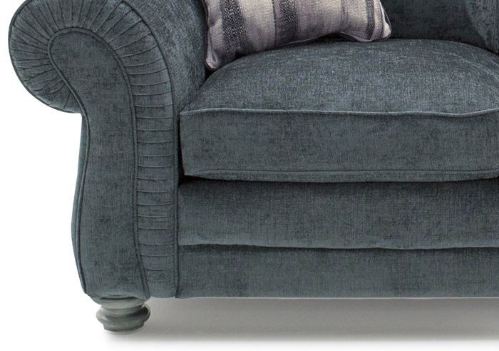 Vida Living Hollins Charcoal Fabric 2 Seater Fixed Sofa with 2 Scatter Cushions