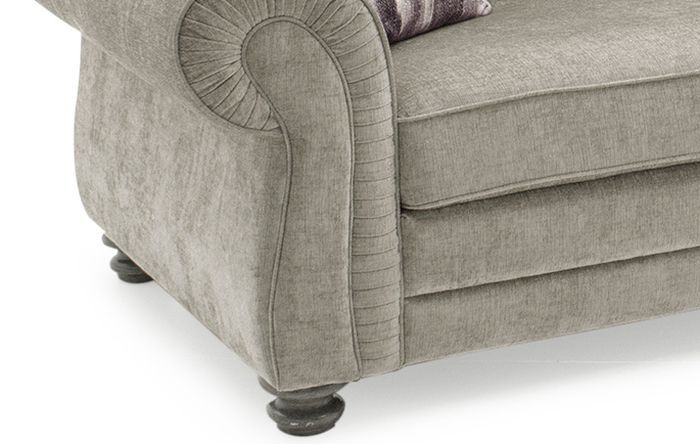 Vida Living Hollins Mink Fabric 3 Seater Fixed Sofa with 2 Scatter Cushions