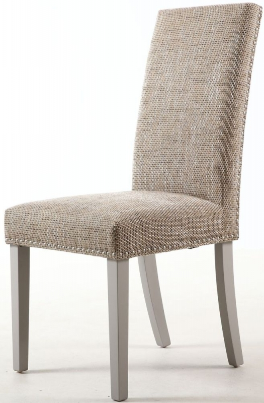 Shankar Oatmeal Tweed Stud Detail Fabric Dining Chair With Grey Chair (Pair)