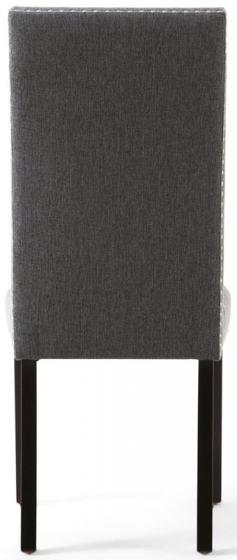 Shankar Randall Steel Grey Linen Effect Fabric Studded Accent Dining Chair with Brown Legs (Pair)