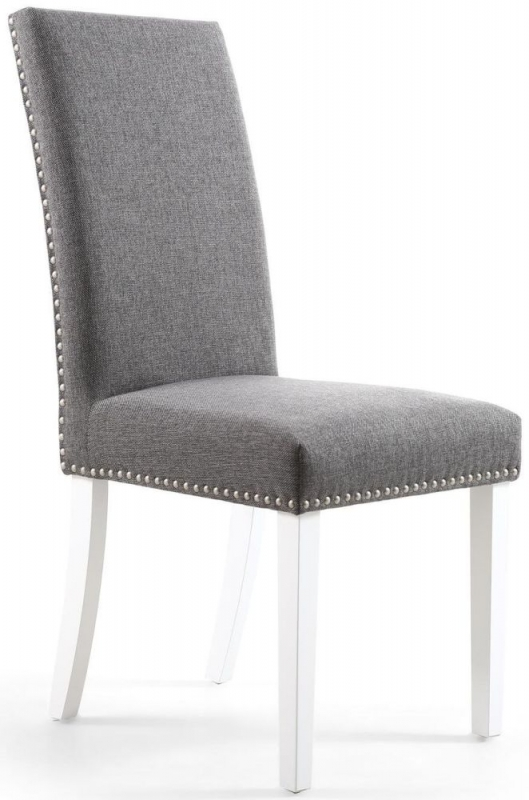 Shankar Randall Steel Grey Linen Effect Fabric Studded Accent Dining Chair with White Legs (Pair)