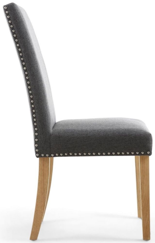 Shankar Randall Steel Grey Linen Effect Fabric Studded Accent Dining Chair with Natural Legs (Pair)