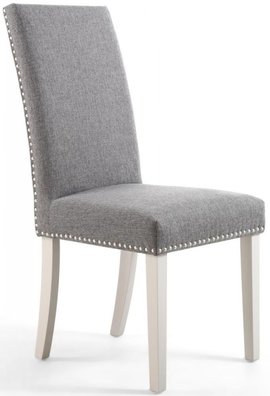 Shankar Randall Steel Grey Linen Effect Fabric Studded Accent Dining Chair with Grey Legs (Pair)