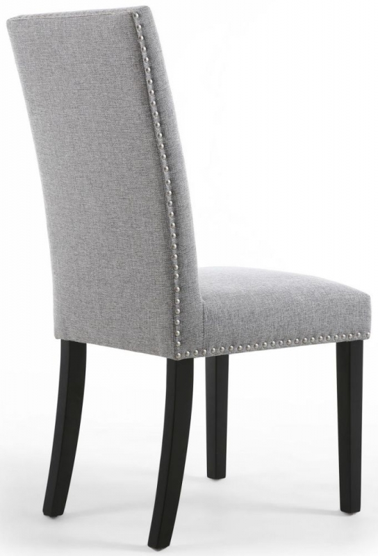 Shankar Randall Sliver Grey Linen Effect Fabric Studded Accent Dining Chair with Black Legs (Pair)