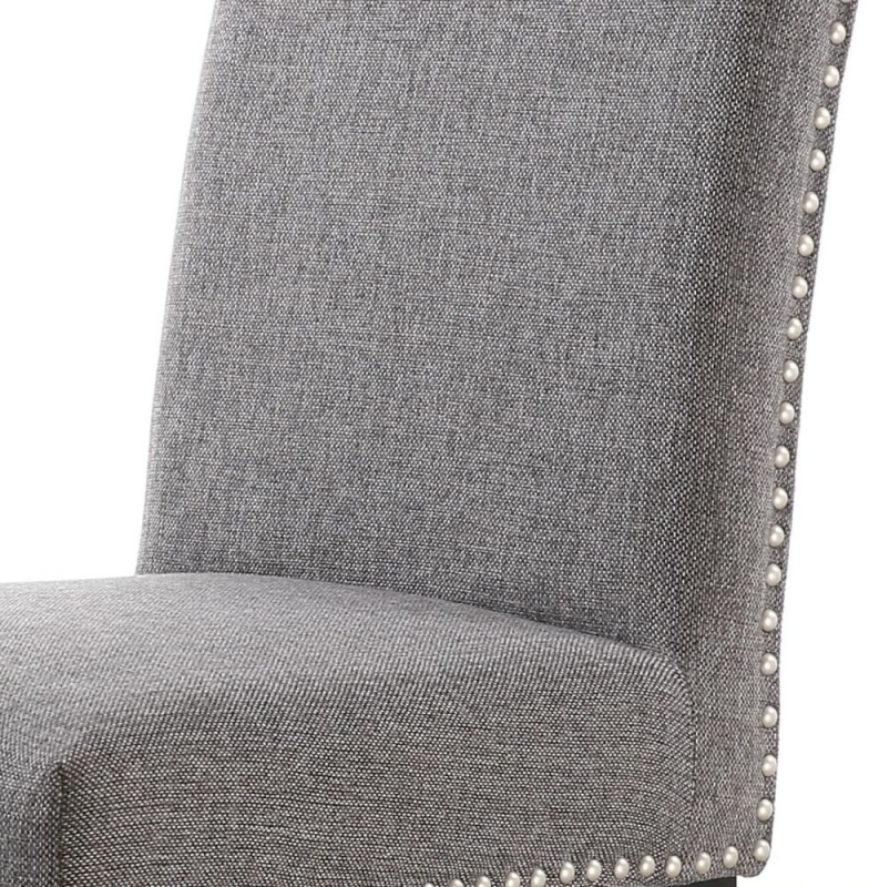 Shankar Randall Sliver Grey Linen Effect Fabric Studded Accent Dining Chair with Natural Legs (Pair)