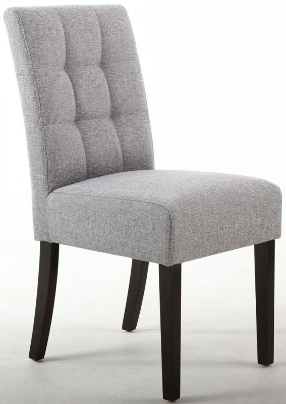 Shankar Moseley Silver Grey Linen Effect Fabric Stitched Back Accent Dining Chair with Brown Legs (Pair)