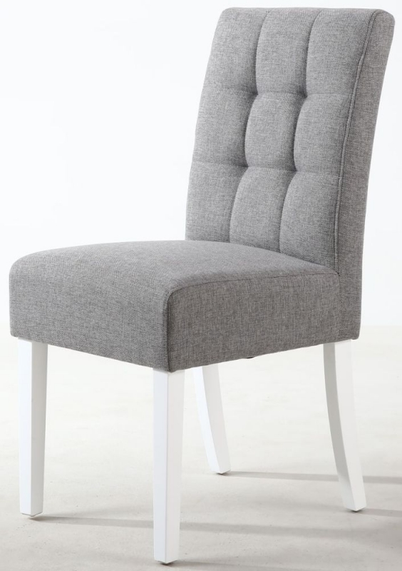 Shankar Moseley Silver Grey Linen Effect Fabric Stitched Back Accent Dining Chair with White Legs (Pair)