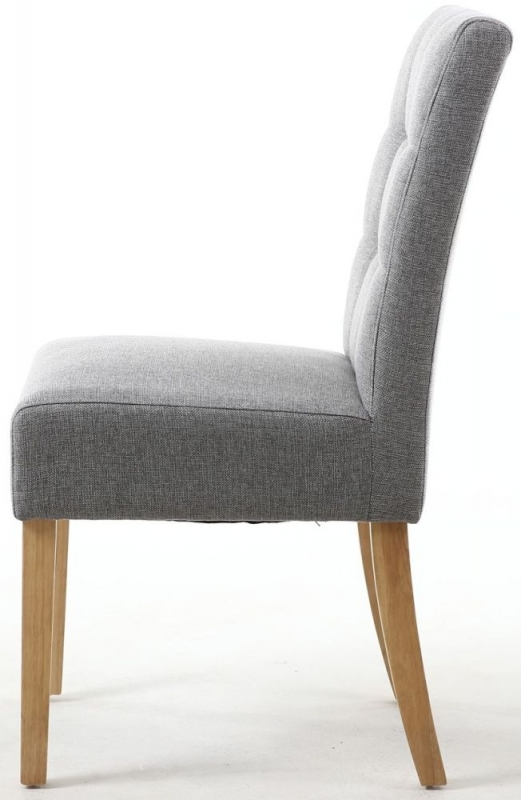 Shankar Moseley Silver Grey Linen Effect Fabric Stitched Back Accent Dining Chair with Natural Legs (Pair)