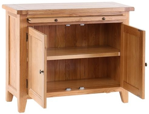 Vancouver Petite Oak 2 Door Cabinet with Pull Out Desk