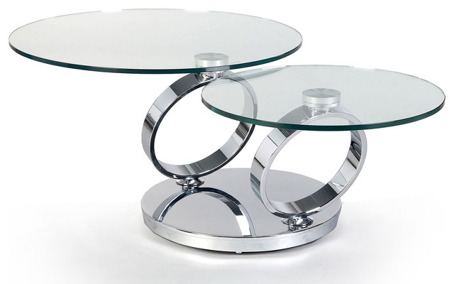 Buy Dakota Glass Rings Round Extending Coffee Table With Stainless