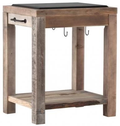 Buy Reclaimed Wood Work Bench With Granite Top And Hooks Online CFS UK - Reclaimed wood work table