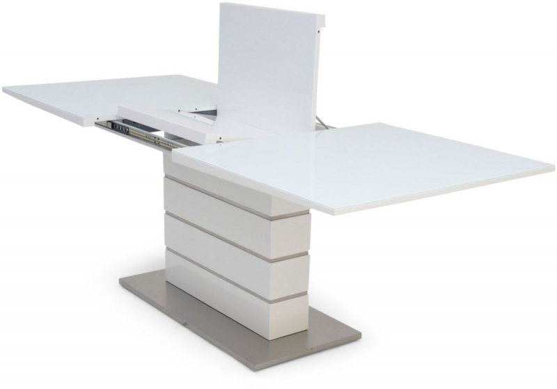 Massimo White High Gloss Butterfly Extending Dining Table
