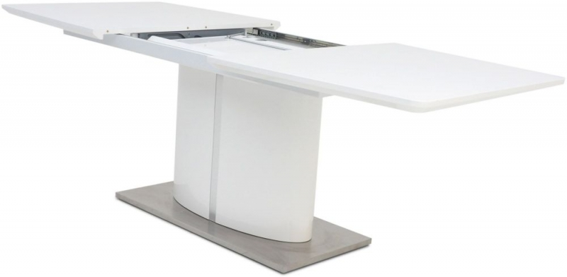 Flavio White High Gloss Butterfly Extending Dining Table