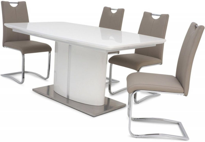 Flavio White High Gloss Butterfly Extending Dining Table and 4 Gabi Taupe Chairs